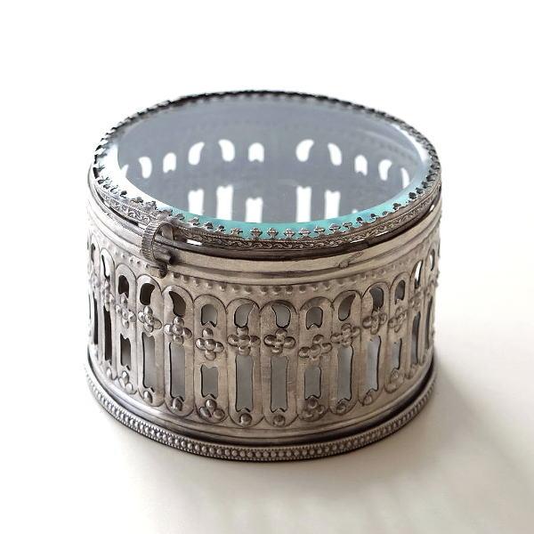 アクセサリーケース かわいい 真鍮 アンティーク レトロ アクセサリー 収納 ボックス ふた付き 小物入れ レトロなホワイト真鍮のボックス [ebn5760]