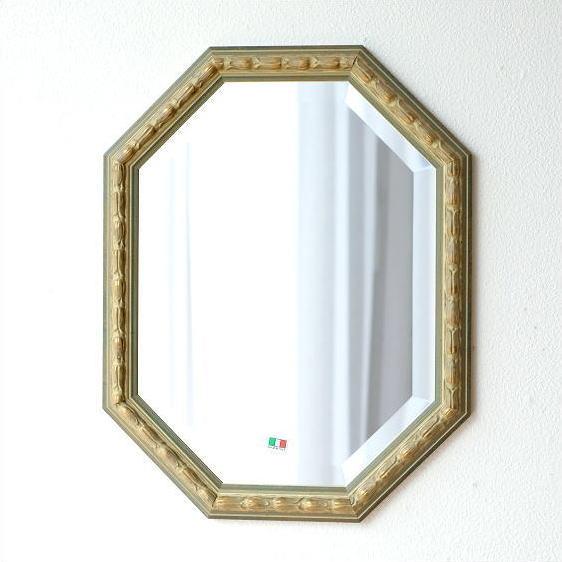 鏡 アンティーク 壁掛けミラー イタリア製 ゴールド 八角 ウォールミラー イタリアンミラー オクトA
