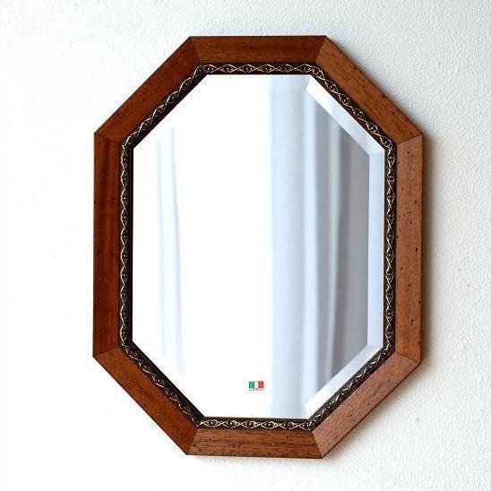 鏡 アンティーク 壁掛けミラー イタリア製 ブラウン 八角 ウォールミラー イタリアンミラー バロッコ