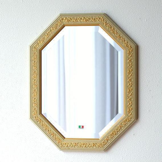 鏡 アンティーク 壁掛けミラー イタリア製 ゴールド 八角 ウォールミラー イタリアンミラー IV/GD [ebn5897]