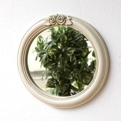 壁掛け鏡 アンティークホワイトのオーバルミラー