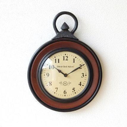 掛け時計 木製 ウッド 丸 ラウンド デザイン 木 アイアン モダン シンプル アンティーク ウォールクロック クロノグラフ