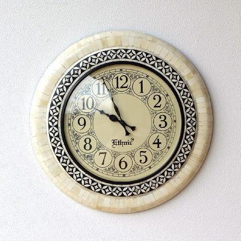 掛け時計 丸 ラウンド 大きい 大きめ モダン シンプル アンティーク ウォールクロック ボーン【送料無料】