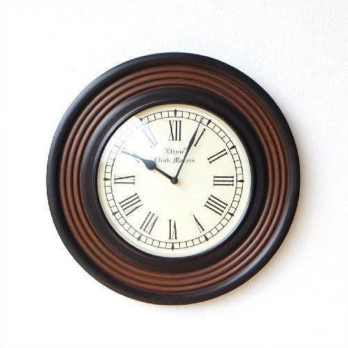 掛け時計 木製 ウッド 丸 ラウンド デザイン ローマ数字 木 おしゃれ シンプル アンティーク ウォールクロック ウッディーライン