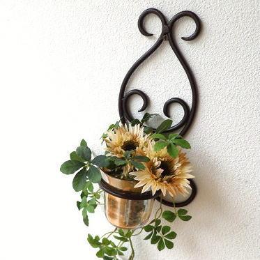 花瓶 ガラス アイアン 壁掛けフラワーベース ブラウンカップ [ebn7069]