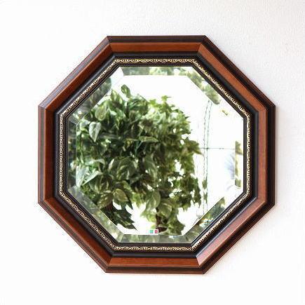 八角鏡 ウッド八角ミラーB