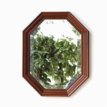 八角鏡 壁掛けミラー ウォールミラー アンティーク クラシック 木製 イタリア ウッド八角ミラーA 【送料無料】 [ebn7393]