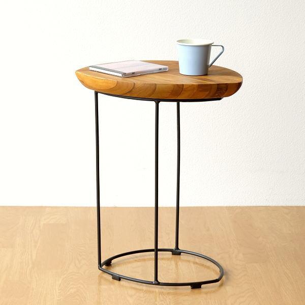 アイアンとウッドのリーフテーブル 【送料無料】 [ebn7519]