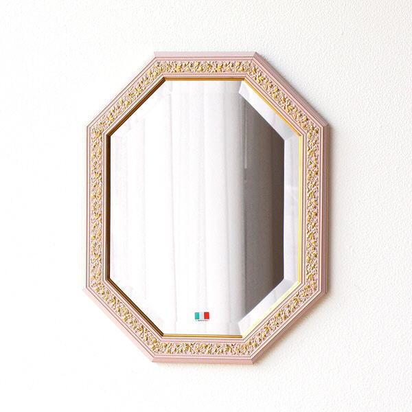 鏡 アンティーク 壁掛けミラー イタリア製 八角 ウォールミラー クラシック ヨーロピアン シンプル 上品 玄関 リビング イタリアンミラー OTピンク 【送料無料】 [ebn7544]
