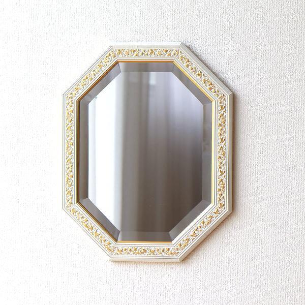 鏡 ミラー 壁掛け ウォールミラー イタリア製 おしゃれ アンティーク 八角 ホワイト イタリアンウォールミラー WH 【送料無料】 [ebn7668]