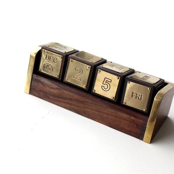 カレンダー 卓上 サイコロ型 おしゃれ アンティーク 真鍮 木製 ブラスとウッドのサイコロカレンダー [ebn9193]