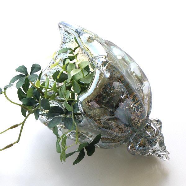 置物 オブジェ  ガラス シェル 貝殻 海 マリン 雑貨 オーナメント おしゃれ インテリア ガラスのオブジェ シェルブルー [ebn9460]
