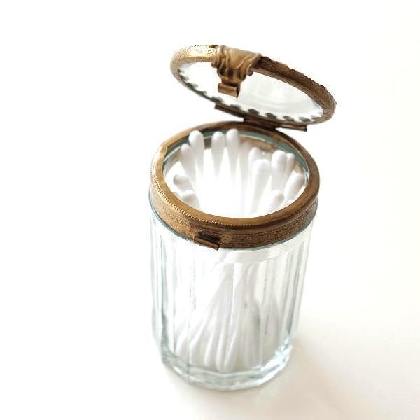 ガラスケース 綿棒入れ おしゃれ 小物入れ ガラス ふた付き ボックス 蓋付き アンティーク 真鍮 真鍮とガラスの綿棒ケース [ebn9994]
