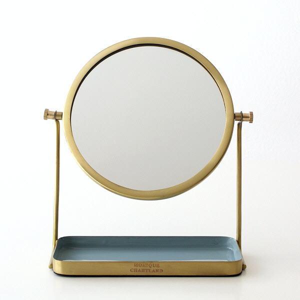 鏡 卓上ミラー おしゃれ かわいい トレイ付き アンティーク レトロ シンプル 真鍮 エナメル 角度調節 メイクミラー 化粧鏡 真鍮とエナメルのスタンドミラー [gfc3593]