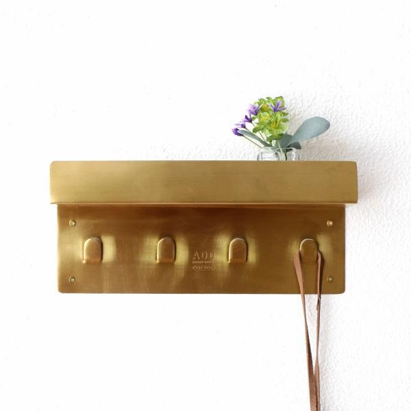 キーフック 壁掛け フック おしゃれ 鍵掛け 鍵置き 小物置き 玄関 小物入れ ブラス スタイリッシュ 棚付き ゴールド ブラス棚付きキーフック [gfc4568]