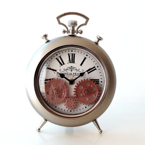 置き時計 おしゃれ アナログ アンティーク 機械式風デザイン 卓上 時計 リビング クラシック ヨーロピアン スタンドクロック ギアー [hal0428]