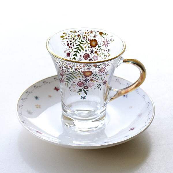 カップ&ソーサー 磁器 ガラス おしゃれ アンティーク エレガント クラシック かわいい コーヒーカップ ソーサー セット ガラスカップのC&S バタフライ [hal0508]