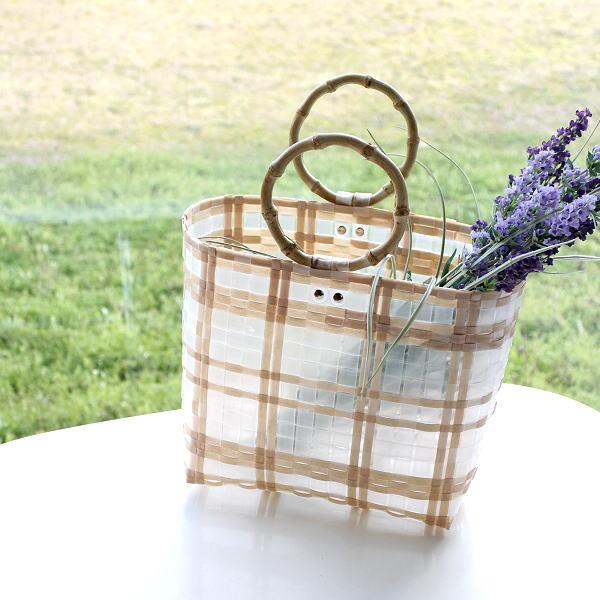 トートバッグ 軽量 軽い おしゃれ 竹 バンブーハンドル かわいい 可愛い 半透明 マチあり かばん ナチュラルトーンチェックバッグ [hal0634]