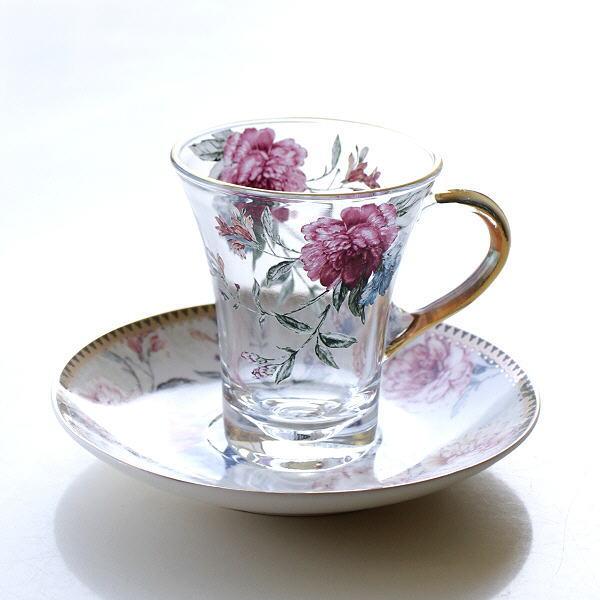 カップ&ソーサー 磁器 ガラス おしゃれ アンティーク エレガント クラシック コーヒーカップ ソーサー セット ガラスカップのC&S フラワーピオニー [hal0638]