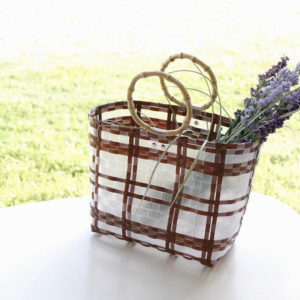 トートバッグ 軽量 軽い おしゃれ 竹 バンブーハンドル かわいい 可愛い 半透明 マチあり かばん ブラウントーンチェックバッグ [hal0722]