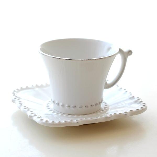 カップ&ソーサー おしゃれ 陶器 コーヒーカップ お皿 プレート セット 洋食器 ティーカップ バーレスクC&S WH [hal0850]