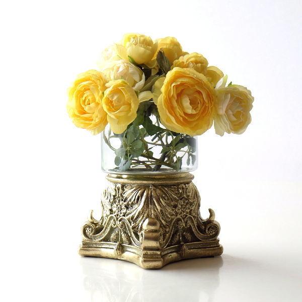 花瓶 おしゃれ ガラス フラワーベース アンティーク ロココ調 エレガント かわいい ヨーロピアングラスベース [hal0898]