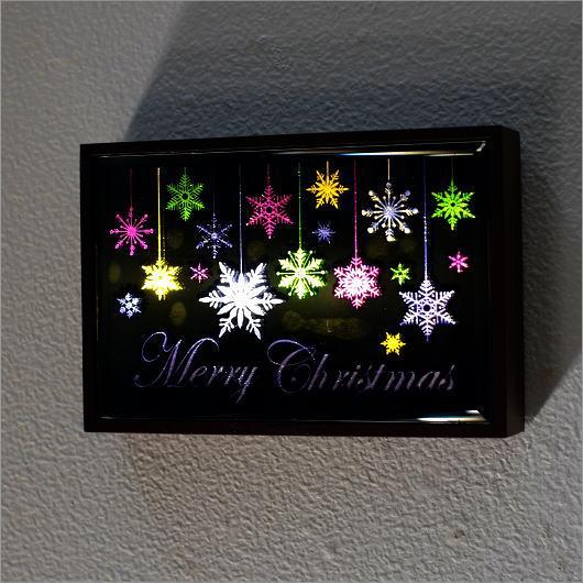 クリスマス ネオン 壁飾り ウォールデコレーション LEDサイン スノーフレイク電池付