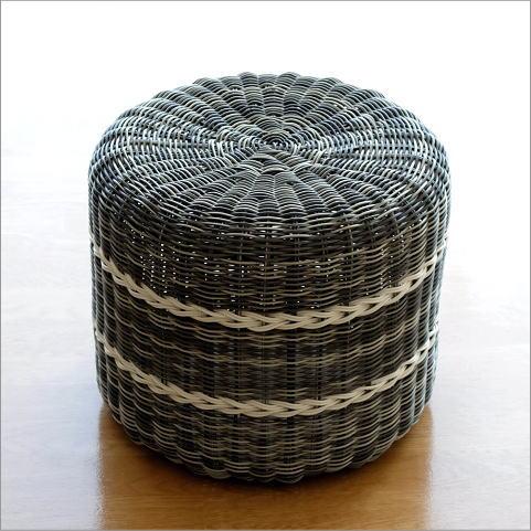 スツール おしゃれ 丸 プラスチック製 玄関 椅子 腰掛け 水に強い 軽い 軽量 ナチュラル アジアン 編み チェア ベランダ テラス バルコニー ガーデンスツール