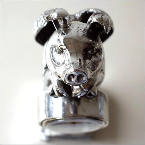 置時計 おしゃれ ぶた 豚 天使のブタさんクロック プラチ