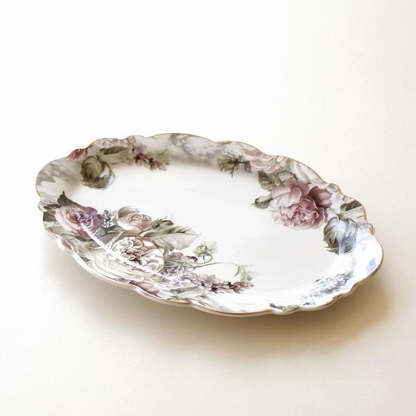 お皿 プレート オーバル型 中皿 陶器 花柄 かわいい おしゃれ アンティークローズ ローズブーケプレート オーバル [hal1465]