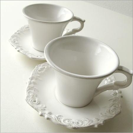 ティーカップ コーヒーカップ カップ&ソーサー セット 陶器 おしゃれ アンティークなペアカップ ホワイト