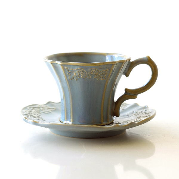 カップ&ソーサー おしゃれ 陶器 コーヒーカップ お皿 プレート セット 洋食器 ティーカップ カップ&ソーサー トリアノン [hal2201]
