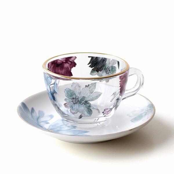 カップ&ソーサー 磁器 ガラス おしゃれ かわいい アンティーク エレガント カフェ ガラスカップのC&S ブロッサム [hal2669]