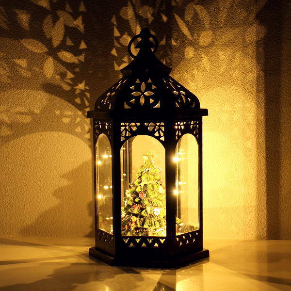 クリスマス ランタン LEDライト おしゃれ アンティーク クリスマスツリー 置物 オブジェ LEDランタンデコツリー [hal3147]
