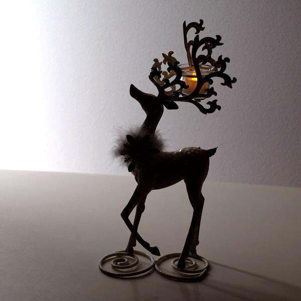 トナカイ 置物 オブジェ おしゃれ クリスマス キャンドルホルダー LED付きホワイトディアー [hal3186]