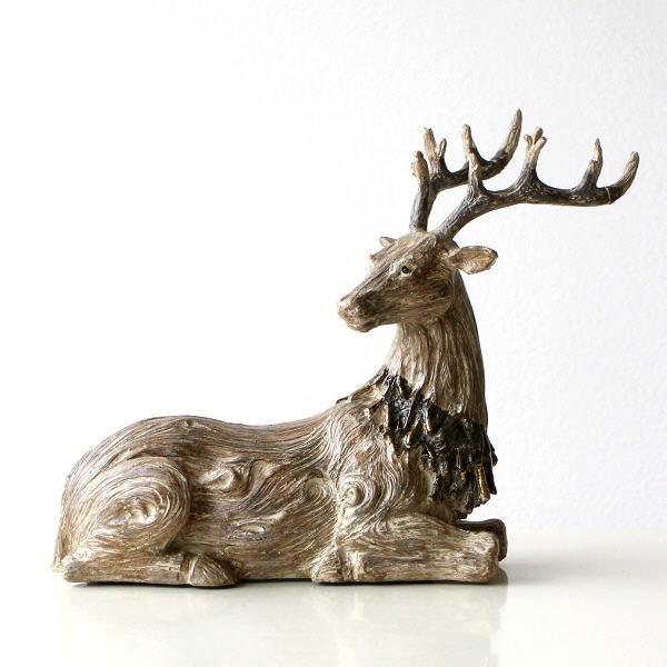 トナカイ 置物 オブジェ 木彫り風 おしゃれ クリスマス ウッディーディアー [hal3187]