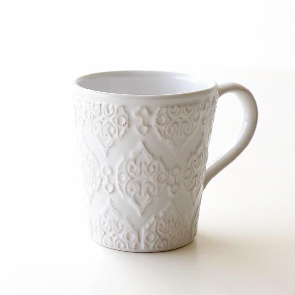 マグカップ 陶器 おしゃれ かわいい コップ アンティーク ホワイト マグカップ WHトリアノン [hal3578]