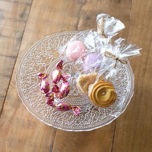 ケーキスタンド ガラス おしゃれ ケーキプレート ディスプレイ ケーキスタンド かわいい ガラスのケーキスタンド アラベスク [hal4028]