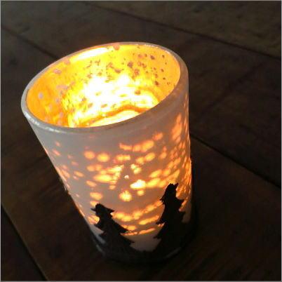 キャンドルホルダー ガラス キャンドルスタンド モミの木のキャンドルカップ 2タイプ [hal4200]