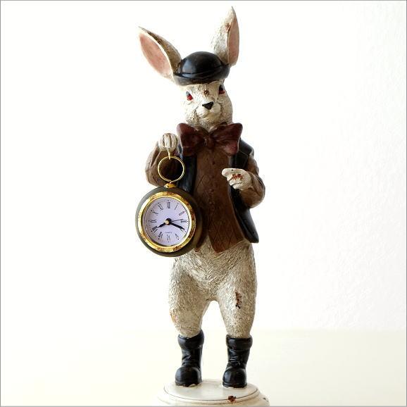 置時計 アンティーク おしゃれ アナログ かわいい うさぎ ウサギ 置物 雑貨 オブジェ スタンドクロック 卓上 小さいレトロなハットラビットクロック