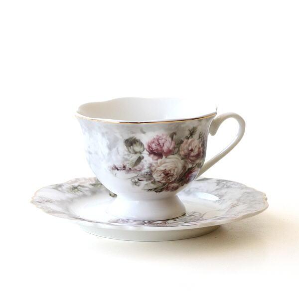 カップ&ソーサー 陶器 おしゃれ かわいい バラ エレガント 華やか コーヒーカップ ソーサー エレガントなC&S ロースブーケ [hal4634]