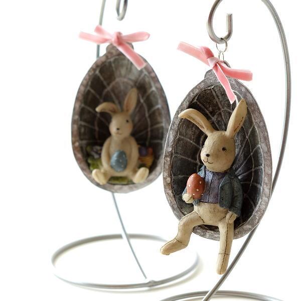 うさぎ ウサギ 置物 かわいい オブジェ 可愛い インテリア 雑貨 ハンギングバニー 2タイプ [hal5087]