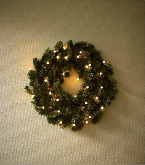 オブジェ ウォールデコレーション 壁飾り クリスマスリース LEDとモミの木のビッグリース【送料無料】