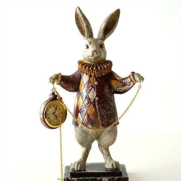 置時計 おしゃれ アンティーク かわいい うさぎ 置物 雑貨 インテリア ウサギ オブジェ 懐中時計 ダイヤチェックラビット チェーンクロック