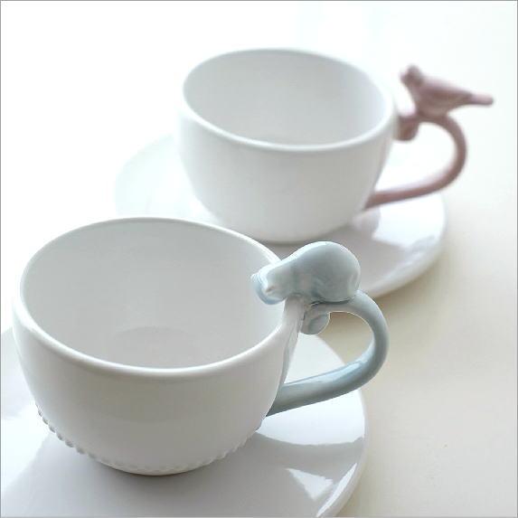 カップ&ソーサー おしゃれ 白 かわいい 猫 鳥 シンプル 陶器 紅茶 コーヒーカップ ティーカップ 一客 洋食器 ホワイトカップ&ソーサー キャット&バード