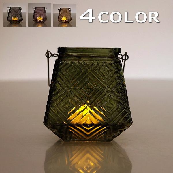 キャンドルホルダー ガラス アンティーク 北欧 フラワーベース 花瓶 おしゃれ LEDキャンドル付きガラスホルダー4カラー [hal6661]