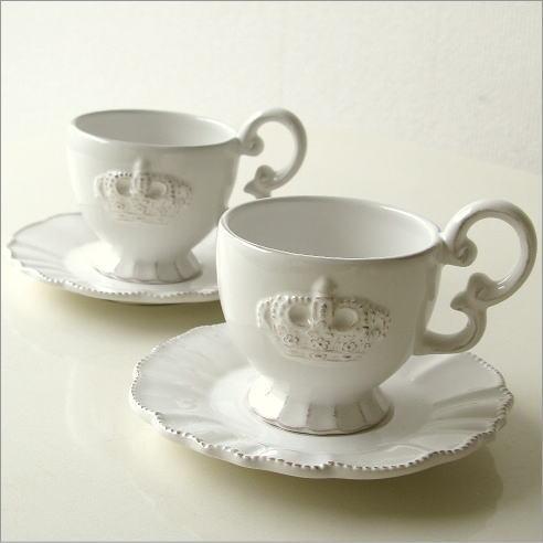 コーヒーカップ 陶器 アンティークなペアカップ ホワイトクラウン [hal7201]
