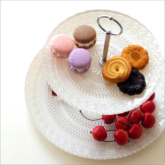 ケーキスタンド 2段 ガラス アンティーク おしゃれ ケーキ皿 スタンド ケーキプレート 洋食器 クラシック 模様 スイーツスタンド ガラスの2段プレート WHT