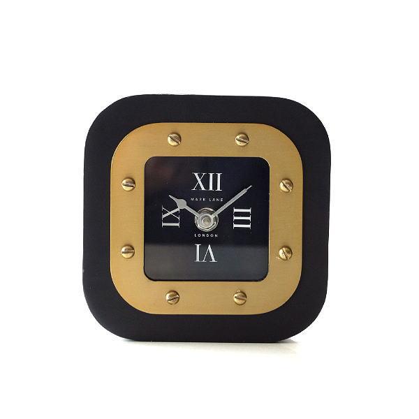 置き時計 おしゃれ ブラック ゴールド アナログ クラシック エレガント 高級感 スクエアテーブルクロック 【送料無料】 [hal8126]