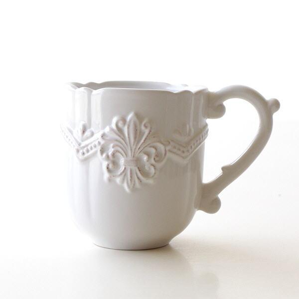 マグカップ 陶器 おしゃれ かわいい コップ アンティーク フリル ホワイト マグカップ フルール [hal8650]
